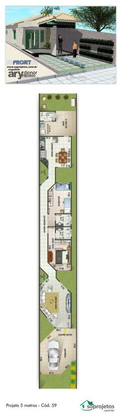 Projeto de casa com 2 dormitórios sendo 1 suíte. Possui sala de estar e um amplo banheiro. Cozinha com copa para almoço diário. Garagem para 1 veículo, com área de 24,80 m² Área ajardinada na frente da casa.