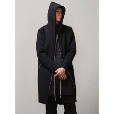 Mens Dark Incense Overlong Neoprene Hooded Coat at Fabrixquare