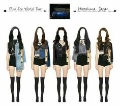 [Pink Ice World Tour]— Hiroshima, Japan 🇯🇵 Grunge Outfits, Kpop Fashion Outfits, Stage Outfits, Edgy Outfits, Dance Outfits, Cute Outfits, Womens Fashion, Kpop Costume, Costumes