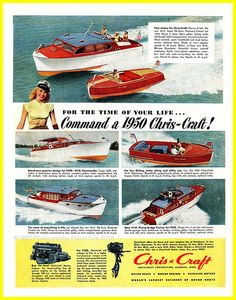 Vintage boat advertisement scanned from the Dec, 1949 edition of Collier's Magazine. Poster Boards, Chris Craft Boats, Small Yachts, Dorm Posters, Classic Wooden Boats, Cabin Cruiser, Vintage Boats, Old Boats, Canoes