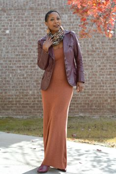 Thrifted Outfit // DIY Orange Dress and Burgundy Leather   Thriftanista in the City