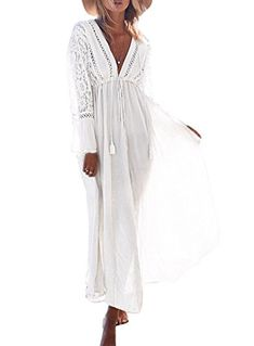 5aa5dad89e Avidqueen Cover ups for Women Sexy Deep V-neck Printing Swimsuit Beach  Cover up Long Dress
