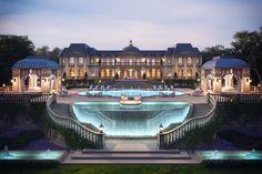 Glass wall pool.