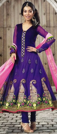 Shaded Purple Faux Georgette #Churidar #Kameez @ $104.44