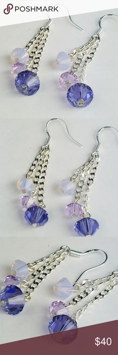 Fairytale Twinkle Swavorski Crystal Earrings New!! Beautiful Fairytale Twinkle Earrings. Bold and colorful Swavorski Crystals sizes large to small. 6 crystals total! On all .925 Sterling Silver hardware.   Magen's Fairytale Creations original handmade by me. Magen's Fairytale Creations Jewelry Earrings