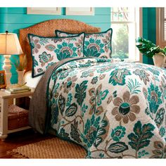 Ikat Floral Quilt and Sham Separates | Overstock.com
