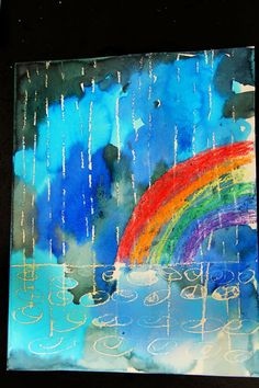 Smart class: winter rain watercolor resist art i might actua Kindergarten Art, Preschool Art, Weather Art, Spring Art Projects, Rain Art, Art Lessons Elementary, Art Classroom, Art Club, Art Activities