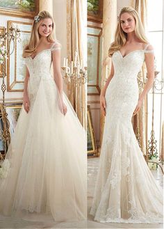 Delicate Tulle V-neck Neckline 2 In 1 Wedding Dresses With Lace Appliques