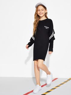 To find out about the Girls Ruffle Trim Letter Print Sweat Dress at SHEIN, part of our latest Girls Dresses ready to shop online today! Kids Outfits, Casual Outfits, Cute Outfits, Fashion Outfits, Daily Fashion, Fashion News, Kids Fashion, Fashion 2016, Sweat Dress
