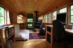 Living in old school bus