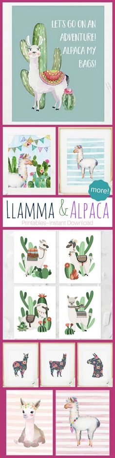 More cute Llama and Alpaca art printables. digital downloads of llamas and alpacas #printable #art #llama #alpaca #ad #etsy