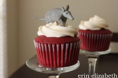 omg. i need these bleeding armadillo cupcakes!!!! perfect for a southern wedding. @Aimee Pryszlak..Aimee you can be a bridesmaid if you make these
