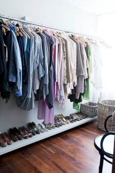 Another view of Rut Kara's dressing room featuring her impeccably organized wardrobe; photography by Trine Thorsen