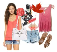"""Coral Pink Ruffled Tunic"" by michellesivo on Polyvore featuring Ella Moss, Chanel, Billabong and Black Rivet"
