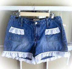Upcycled Lace Embellished Jean Shorts juniors by PorcupinePixie