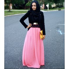 "Another stunning ""Shop Your Closet"" outfit.  salmon and yellow against jet black is genius.  This outfit would only work with a fitted jacket and this sister nails it.  The lace bottom and gold belt enhances the look in a subtle way. - Habiba West"