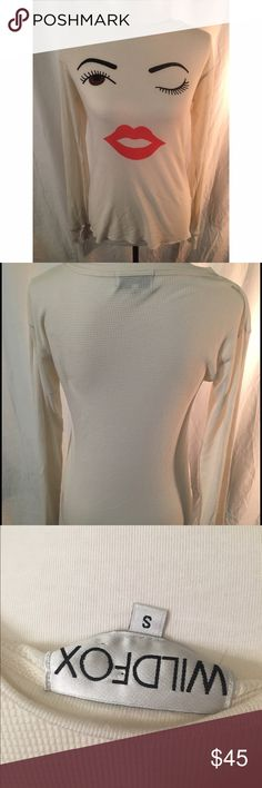 Wildfox 70's girl chalet thermal Wildfox Women's white 70s girl chalet thermal shirt. Cute! Great condition. It's slim fit with an extremely soft fabric   **please note all of my items come from a smoking household and it's nothing a quick wash can't fix Wildfox Tops Tees - Long Sleeve