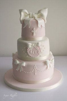 Pink and White Christening Cake - by SugarRuffles @ CakesDecor.com - cake decorating website