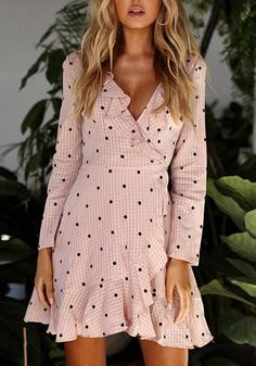 Type :Slim Material :Cotton Blend Color :Pink Decoration :Ruffle Pattern :Polka Dot Collar :Collarless Length Style :Above Knee Sleeve Length :Long Sleeve