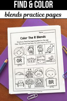 R Blends Worksheets, L Blends Activities - Find the Beginning Blend