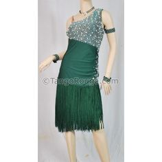 Share me and get 5% off coupon Hunter Green Pearl Fringe Latin Rhythm Dance Dress - XL