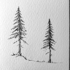 Illustration of Lost Swiss Miss Watercolor Brushes, Watercolor Art, Pencil Drawings, Art Drawings, Mountain Drawing, Forest Tattoos, Pine Tree Tattoo, Tree Sketches, Black And White Illustration