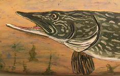 Rustic Vintage Paddle with Hand Painted Pike Painting - Cottage - Man Cave - Fathers Day - Favourite Fisherman - One of a Kind Painting Prints, Paintings, Fathers Day Presents, Great Father, Fishing Rod, Paddle, Man Cave, Arts And Crafts, Buy And Sell