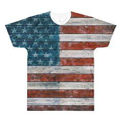 Vintage American Flag, Sublimation men's crewneck t-shirt