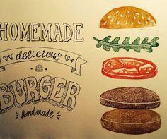 Veggie Burger Obergine vegan Burger Restaurant, Slow Food, Food Trucks, Food Illustrations, Veggies, Homemade, Typo, Hamburger, Magazine