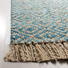 Shop the Rug - Color: Turquoise, Natural; Size: x by Safavieh. Made from Jute Pile in India. This Hand Woven Turquoise, Natural rug has a pile_height, perfect for a soft yet durable addition to your home. Jute Rug, Woven Rug, Loom Weaving, Hand Weaving, Mandala Rug, Weaving Textiles, Natural Area Rugs, Tear, Weaving Techniques