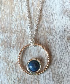 TRENDING FOR FALL 2015!  Mixed Metal Denim Lapis Cabochon Pendant Necklace.  Handmade Artisan Jewelry.