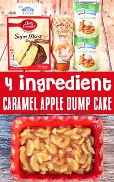 Apple Recipes - Easy Dessert - Caramel Apple Dump Cake!  This sweet apple treat with ribbons of gooey caramel and a buttery crumble topping is one of the EASIEST desserts you'll ever make!  Just 4 Ingredients and you're done!  Go grab the recipe and give it a try this week!