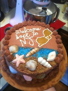 Shore theme welcome home cake