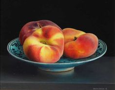 Still Life with Saturn Peaches on a Persian Dish by Jessica Brown