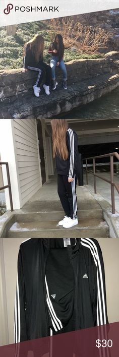 Adidas Bundle! 🖤 Adidas Track Set & Hat!  - Adidas Track Jacket is the classic black with 3 white stripes. It is a size XL but could be worn oversized as a Large.   -Adidas Track Pants, same as the jacket. Classic black with the 3 white strips. Size M. Can fit up to Large. Has a zipper to zip open on bottom of legs.  -Adidas Navy Cap. Really comfortable and light weight :)  I'm also selling individually as well. Just message me on which product you would like.   Jacket is $15 Pants are $15…