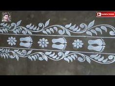 easy line alpona for laxmi puja special# festival alpona,mugguludesigns Rangoli Side Designs, Rangoli Designs Latest, Simple Rangoli Designs Images, Free Hand Rangoli Design, Small Rangoli Design, Colorful Rangoli Designs, Rangoli Ideas, Rangoli Designs Diwali, Rangoli Borders