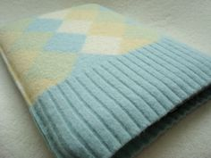 Netbook Case iPad Cover AQUA YELLOW Argyle Felted Sweater Wool. $25.00, via Etsy.