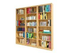 Rustikales Bücherregal, bestehend aus drei einzelnen  Landhaus Bücherregalen in gebeizt geölt, mit jeweils fünf  Einlegeböden, alles aus FSC zertifiziertem Holz.  Die sehr schöne Bücherwand im Landhausstil können Sie als Bibliotheksregale z. B. als komplette Bücherwand verwenden oder Sie können die Bücherregale auch einzeln stellen.  In Ihrem Wohnzimmer  finden diese geschmackvollen Landhausregale sicherlich einen geeigneten Platz.