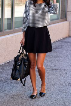 Pursuit Of Shoes Wearing Merona Blouse, Forever 21 Skirt And Sole Society Bag//