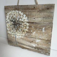 Dandelion on rustic wood,reclaimed wood,original handmade - cocha food Art Mural Palette, Palette Deco, Art Rustique, Style Rustique, Barn Wood Crafts, Barn Wood Projects, Rustic Crafts, Pallet Projects, Funky Junk Interiors