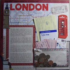 Like the maps and tickets in the pocket. Cool way to store travel memorabilia