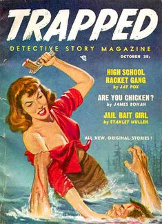 """October 1957 issue stories included: Jay Fox, """"High School Racket Gang"""" James Bohan, """"Are You Chicken?""""Stanley Mullen, """"Jail Bait Girl"""" Mark Mallory, """"Poison with the Dolls"""" Rick Sargent, """"Angel of Death"""" Richard Hardwick, """"Fifty Thousand and the Girl"""" Norman Struber, """"Stupid Fool"""" Robert Ackworth, """"The Third Day"""" Talmage Powell, """"The Big Thrill"""" Seattle Mystery Bookshop"""