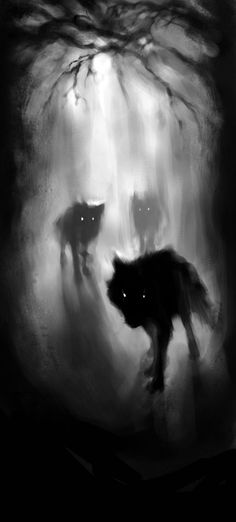 Gunel Gasanova's mostly black and white digital paintings possess an air of dark fantasy, summoning dark forest scenes, starry nightscapes and otherworldly creatures. Her touch is both painterly and precise. Gunel received her BFA in Illustration at the F Dark Fantasy, Fantasy Forest, Animal Totem Loup, Pinterest Arte, Art Noir, Oeuvre D'art, Amazing Art, Amazing Nature, Awesome