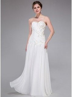 A-Line Princess Sweetheart Floor Length Chiffon Prom Dress With Ruffle Beading 008025422 g25422