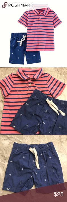 Carter's 3T Set Striped Top & Anchor Whale Shorts Carter's 3T Striped Polo & Anchor Whale Shorts  3T Carter's outfit set. The short sleeve collared polo top is pink with navy blue stripes with a 2-Button collar. The pull on shorts are blue with white whales and nautical anchors with Faux drawstring and elastic waistband. Both pieces are 100% cotton. Smoke/pet free home. No holes or stains.  Carter's Spring Summer Nautical Anchor Whale Outfit Shorts Shirt 3T Carter's Matching Sets