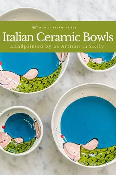 These whimsical fish motif bowls are handpainted by an artisan in Sicily. Bring color and Italian sea decor to your table with ceramic bowls perfect for serving olives, pasta, salad or anything else that needs a bit of Italian charm. Choose from two sizes and two ocean decor motifs #colorfulbowl #colorfulbowls #fishdecor #fishmotifs #ceramicbowl #ceramicbowls #handpainted #haindpaintedceramics #artisanmade #madeinitaly #artisanal #decorativebowls #seadecor #beachdecor #italianhome…