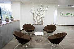 Minimalist and Modern Office Design Ideas: Divine Modern Office Design Hybrid Intelligence Office Shelton With Contemporary Dark Brown Chairs And Small Rounded Coffee Table Iron Bases ~ boholmain.com Home Office Design Inspiration
