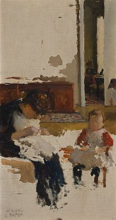 LEONID PASTERNAK – The artist's wife Rosalia sewing, with Boris aged two    Moscow 1892; oil on canvas