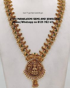 Here are some of the prettiest gold antique long necklace designs by two of the popular jewellery brands namely MLG Gold and GRT Jewellers. Gold Jhumka Earrings, Gold Earrings Designs, Gold Jewellery Design, Necklace Designs, Gold Necklace, Antique Jewellery, Necklace Set, Gold Wedding Jewelry, Gold Jewelry