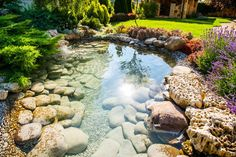 One of the most beautiful elements you could add to any outdoor space is a water feature. Water features don't necessarily need to include fountains, or even rushing water, for that matter. If you have the space, you could create a rock pond. Backyard Water Feature, Ponds Backyard, Garden Ponds, Garden Water, Backyard Stream, Backyard Waterfalls, Water Gardens, Backyard Patio, Small Backyard Landscaping